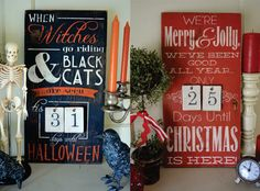 Double Sided 2-in-1 Distressed Wood Word Halloween Christmas Countdown Advent Sign with Tags Vintage Architectural Salvaged Reclaimed Feel