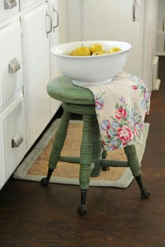 vintage tea towel and chippy furniture.