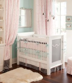 Baby girl nursery I like the curtains around the crib!