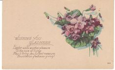 Vintage Postcard Easter Violets Flowers Unused Early 1900s Made in USA #Easter