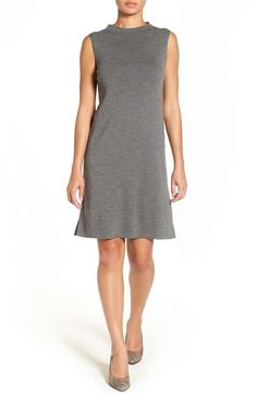 Eileen Fisher Funnel Neck Washable Wool Crepe Shift Dress (Regular & Petite)