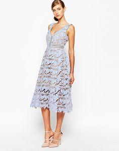 Image 4 ofSelf Portrait Off Shoulder Heavy Lace Midi Prom Dress