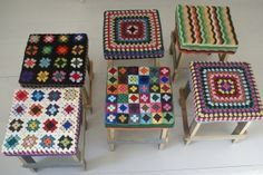 Yarn-bombed crocheted stools by candy