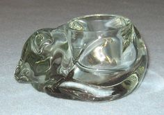 Cat Candles | Clear Glass Sleeping Cat Candle Holder Avon | eBay