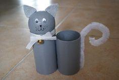 Pot à crayons ris en rouleaux de carton - Sacha le chat. - Création Créations des enfants de lilounonette n°44707 (Vue 550 fois)