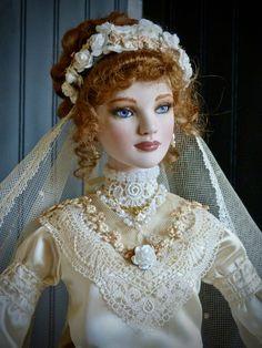 Royal Wedding Gowns, Dream Wedding Dresses, Silk Satin Fabric, Silk Ribbon, Flower Headdress, High Quality Wigs, Bride Dolls, Edwardian Fashion, Antique Lace