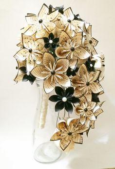 Kaskadierende Bouquet - Papier-Bouquet, eines eine Art Origami, Brautstrauß, Kusudama, Papier Rosen und Lilien, Ihr Farbschema