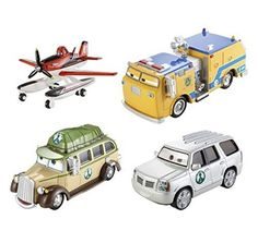 Disney Planes Fire & Rescue FUSEL LODGE FIRE ALARM Exclusive 4-Pack Gift Set - Pulaski, Firefighter Dusty, Cad Spinner & Ol' Jammer