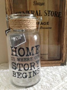 Latest product Slogan Rope Jar/Vase (Home) for sale on - http://shabbychicemporium.com/product/slogan-rope-jarvase-home/