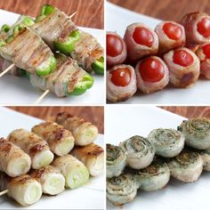 Perfect for beer ♪ 4 kinds of pork roll vegetable skewers – Dinner Recipes Deli Food, Cafe Food, Healthy Cooking, Cooking Recipes, Healthy Recipes, Pan Cooking, Cooking Rice, Cooking Bacon, Cooking Utensils