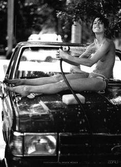 Bruce Weber | Mila Jovovich | splash | summer | carwash | hose down | cute |