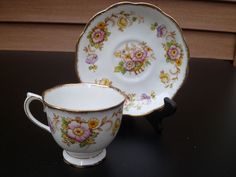 Antique Royal Albert crown china  cup & saucer 1900's 1920's white floral #floral #royalalbert