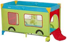#bebe Hauck Dream'n Play Go Plus Fun – Cuna de viaje con ruedas, color verde/azul