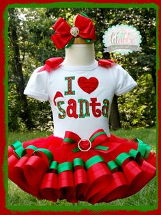 Christmas Outfit, Christmas Tutu Set, I Love Santa Set ~includes Top/Onesie, Tutu, Hair Accessory by lilabbehandmade on Etsy