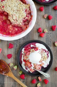 Grandmas Raspberry Rhubarb Crumble is the perfect balance of tart and sweet! The rhubarb is tender and still has a little bit of sour bite. And the cinnamon crumble on top…don't even get me started…