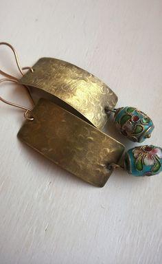 Brass dangle earrings handmade textured brass by JuicyStones