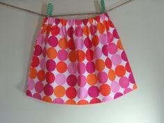 Girls Skirt Twirl Skirt Pink Dots Big Dots by SouthernSeamsKids