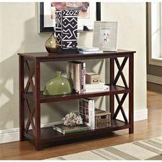 Console Sofa Table 3-Shelf Accent Display Bookcase in Espresso
