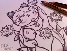 Maneki Neko - © Rik Lee Here's a simple little lucky cat design i'm sketching up right meow.