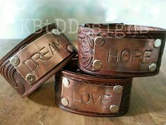 Tooled Leather Cuff with Rustic Copper Plate by KBtDDesigns