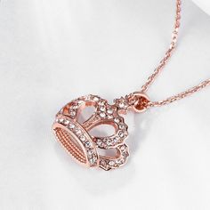 Elensan Women's Rose Gold Crown Necklace Fashion Jewelry Crystal Pendant Curb Chain * Continue to the product at the image link. (This is an affiliate link) Fashion Jewelry Necklaces, Fashion Necklace, Women Jewelry, Chain Pendants, 18k Rose Gold, Crystal Pendant, Rose Gold Plates, Swarovski Crystals, Pendant Necklace