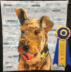Gibson - by Anne Mathers (started in class with Barbara Yates Beasley) Dog Quilts, Animal Quilts, History Of Quilting, Art Quilting, Quilt Art, Photo To Art, Thread Painting, Landscape Quilts, Mermaid Art