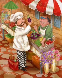 Shari Warren Illustration and Design :: Chef and Waiter Art for Image Licensing - Shari Warren Art and Design :: Artwork for Licensing on Consumer Products and Prints Chef Kitchen Decor, Kitchen Art, Chef Pictures, Retro, Paris Poster, Le Chef, Judo, Vintage Images, Caricature