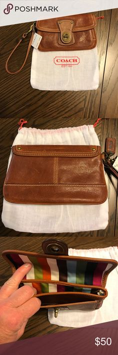 Coach Legacy leather wristlet Coach Legacy whiskey color wristlet. Never used. Tags still attached. With dust bag. Coach Bags Clutches & Wristlets
