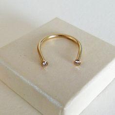 Gold Horseshoe Ring  Gold Diamond Ring  Lucky Ring  14k by artemer, $370.00