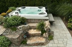 40 Lovely Jaccuzzis Ideas - When people refer to a hot tub or a spa, they often think of the word Jacuzzi. The terms are often used interchangeably but Jacuzzi is actually a bran. Hot Tub Deck, Hot Tub Backyard, Backyard Patio, Backyard Landscaping, Backyard Ideas, Pavers Patio, Landscaping Ideas, Patio Bar, Pergola Ideas