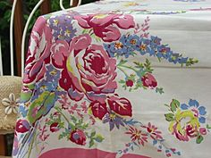 My great aunt Jute used to paint table cloths.  I still have some!  ❥ Antique Tablecloths