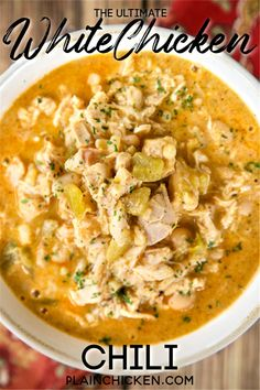 The Ultimate White Chicken Chili - the BEST of the BEST White Chicken Chilis! SO good and ready to eat in under 20 minutes! White Chicken Chilli, Crockpot White Chicken Chili, Chicken Green Chili Soup, Creamy Chicken, Chilli Recipes, White Chili Recipes, Soup Crockpot Recipes, Recipes With Chicken Broth, Best White Chicken Chili Recipe