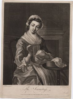 "1765. ""The Seamstress"" by Philip Mercier (a.k.a. Charles Corbutt), artist. Richard Purcell, printmaker. Robert Sayer, publisher, London. Women -- Clothing & dress -- 1700-1799 -- England. 18th century English costume. sewing basket"