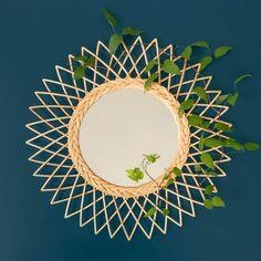 Miroir soleil en rotin esprit vintage - Fleur