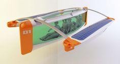 Embarcação movida a energia solar para exploração da vida marinha.