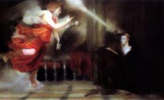 """Richter, Gerhard  Annunciation after Titian  1973  Oil on linen  49 3/8"""" x 6' 6 7/8"""" (125.4 x 200.3 cm)  Hirshhorn Museum and Sculpture Garden, Washington"""