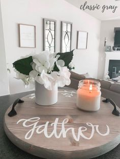 Gather Round Tray or Lazy Susan Serving Tray Personalized   Etsy Lazy Susan Table, Farmhouse Serving Trays, Wood Centerpieces, Serving Trays With Handles, Round Tray, Tray Decor, Wooden Projects, Wood Crafts, Crafty Projects