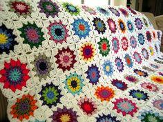 Colorful grannysquares, crochet blanket