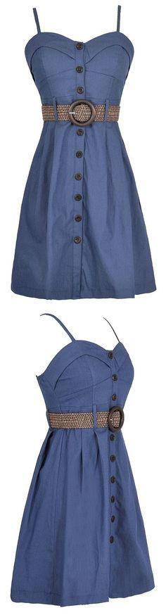 Blue Button Down Dress #fashion #event #party #dress #blue