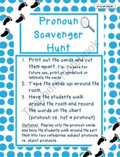 Pronouns Scavenger Hunt Activities product from Joy-in-the-Journey on TeachersNotebook.com