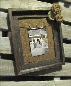 Burlap Frame - Rustic Wood Frame with Twine Hanger and Burlap Rosettes via Etsy