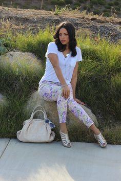 Plain White Tee :: Floral Jeans
