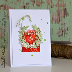 Metallic Merry - watercoloured tag using Distress Inks Festive Berries and Ripe Persimmon.