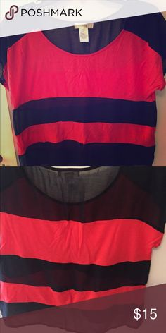 Black and red stripped top Black and red medium top. Will iron before sending. Size medium. Tops Blouses