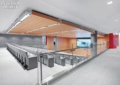 Movie theater in the office anyone? Arent Fox's office makeover by Studio Architecture Studios Architecture, Interior Architecture, Cinema Chairs, Auditorium Seating, Railing Design, Office Makeover, Commercial Design, Interiores Design, Outdoor Decor
