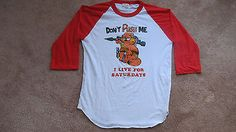 Vintage 1980's Garfield Don't Push Me I Live For Saturdays T-shirt-Adult XL