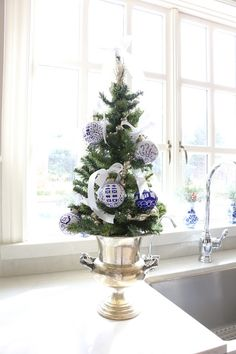 Mini Blue and White Christmas Tree Kitchen Christmas Tree Eleven Gables Kitchen for Christmas Blue Christmas Decor, Christmas Interiors, Christmas Jars, Christmas Tablescapes, All Things Christmas, White Christmas, Christmas Home, Christmas Holidays, Christmas Crafts