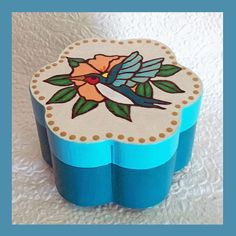 Hummingbird Jewelry box Teal by RFColorfulCreations on Etsy