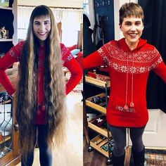 After going from amazing knee length tresses to a pixie, she's open to the idea of going even shorter next haircut. Long Hair Cuts, Beautiful Long Hair, Gorgeous Hair, Shaved Hair Women, Before And After Haircut, Buzzed Hair, Rapunzel Hair, Super Long Hair, Short Hair