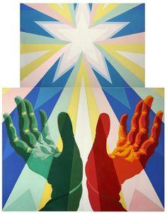 Giacomo Balla. Le mani del popolo italiano (quadro fascista). 1925. Tre pannelli smaltati. Roma già cada Balla